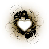 Floral love heart. Illustration of blank love heart surrounded by floral design, white background Royalty Free Stock Images