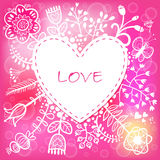 Floral Love Heart background. Vector illustration, can be used a Stock Photo