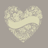 Floral love heart with banner Royalty Free Stock Images