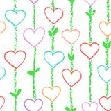 Floral love heart seamless pattern. Wax colorful crayon or pencil like kid`s drawn. royalty free illustration