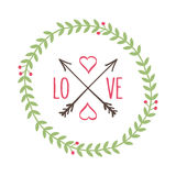 Floral love and hipster wreath Royalty Free Stock Images