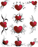 Floral love icons Stock Photos