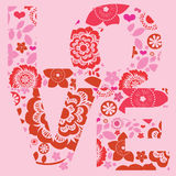 Floral  love message post card Royalty Free Stock Images