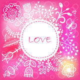 Floral Love Round background. Vector illustration Royalty Free Stock Images