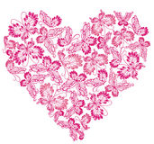 Floral Love Shape. Heart of butterflies Royalty Free Stock Photo