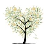 Floral love tree for your design, heart shape Royalty Free Stock Photo