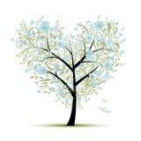 Floral love tree for your design, heart shape Stock Photo