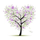 Floral love tree for your design, heart shape Stock Images