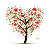 Floral love tree for your design, heart shape Royalty Free Stock Photos