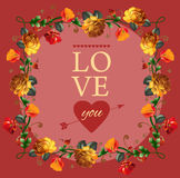 Floral 'Love you' card with flowers. Stock Images