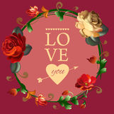 Floral 'Love you' card with flowers. Stock Photography
