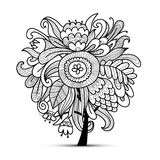 Floral magic tree, sketch for your design. Vector illustration Royalty Free Stock Images
