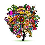 Floral magic tree, sketch for your design. Vector illustration Stock Image
