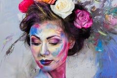 Floral makeup Στοκ φωτογραφία με δικαίωμα ελεύθερης χρήσης