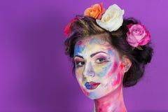 Floral makeup Στοκ φωτογραφίες με δικαίωμα ελεύθερης χρήσης