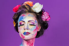 Floral makeup Royalty Free Stock Photography