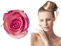 The floral makeup, she is sad Royalty Free Stock Images