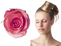 The floral makeup, she is turned of three quarters Royalty Free Stock Photos