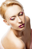 The floral makeup, she is turned of three quarters Royalty Free Stock Image