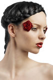 The floral makeup, she is turned of three quarters Royalty Free Stock Images