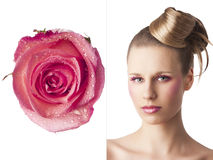The floral makeup, she is turned of three quarters- eyes open Stock Photos