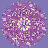 Floral mandala με τη διακοσμητική διακόσμηση Στοκ Εικόνες