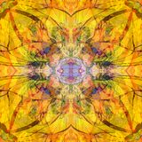 FLOWER MANDALA. BRIGHT COLORS PALLET. LINES IN BROWN. ABSTRACT YELLOW BACKGROUND stock photo