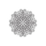 Floral mandala decor. Arabic flower isolated outline openwork Royalty Free Stock Photo