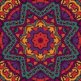 Floral mandala festival background. Ethnic ornamental seamless pattern for fabric. Abstract geometric colorful mosaic Stock Photography