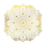 Floral mandala golden. Floral golden mandala with leaves, isolated hand drawn ornament. Art element in boho tribal ethnic style. Can be use for clothes design vector illustration