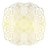Floral mandala golden. Floral golden mandala with leaves, isolated hand drawn ornament. Vector art. Decorative element in boho Indian ethnic style. Can be use stock illustration