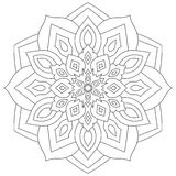Floral mandala with leaves and hearts on a white background. Royalty Free Stock Photo