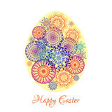 Floral mandala pattern in the shape of an egg. Happy Easter Royalty Free Stock Photo