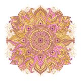 Floral mandala pink and yellow. Floral mandala hand drawn pink and yellow colored decorative element in boho chic style, vector art royalty free illustration
