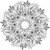 Floral mandala Διανυσματική απεικόνιση zentangl Σχέδιο Doodle Στοχαστικές ασκήσεις Αντι πίεση βιβλίων χρωματισμού διανυσματική απεικόνιση