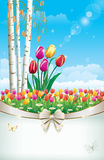 Floral meadow with tulips. Greeting postcard with a floral meadow with tulips Stock Image