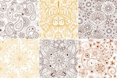 Floral mehendi pattern ornament vector illustration hand drawn henna pattern india tribal paisley background Stock Photography