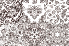 Floral mehendi pattern ornament vector illustration hand drawn henna mhendi pattern india tribal paisley background. Floral mehendi pattern ornament vector Stock Photography