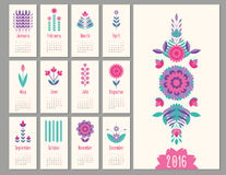 Floral mini calendar 2016 Stock Photography
