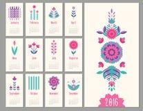 Floral mini calendar 2016. Floral mini geometric, flat calendar  holiday symbol Stock Photography
