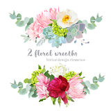 Floral mix wreath vector design set. Green, white and pink hydrangea, wild rose, protea, succulents, echeveria, burgundy red peony