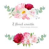 Floral mix wreath vector design set. vector illustration
