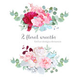 Floral mix wreath vector design set Stock Photo