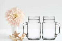 Floral mock-up of 2 mason jars Stock Photography