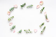 Floral mock-up with rose petals and eucalyptus on white table top view Royalty Free Stock Images