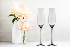 Floral Mockup - 2 empty champagne glasses Stock Photos