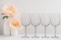 Floral Mockup - 4 empty wine glasses Stock Image