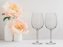 Floral Mockup - 2 empty wine glasses Stock Photos