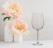 Floral Mockup - one empty wine glass Stock Photos