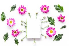 Floral mockup. Sheet of paper in frame of pink flowers on white background top view. Floral mockup. Sheet of paper in floral frame on white background top view Stock Photography